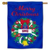 SMU Christmas Holiday House Flag