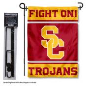 Southern Cal USC Trojans Garden Flag and Holder