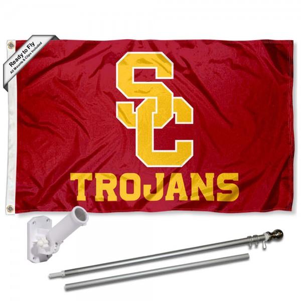 Southern Cal USC Trojans SC Logo Flag and Bracket Flagpole Kit