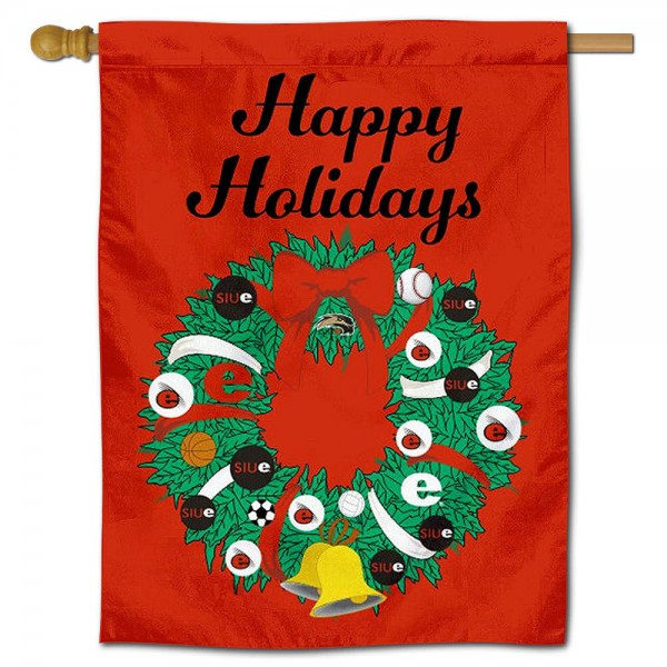 Southern Illinois Edwardsville Cougars Christmas Holiday House Flag
