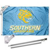 Southern Jaguars Flag and Bracket Mount Flagpole Set