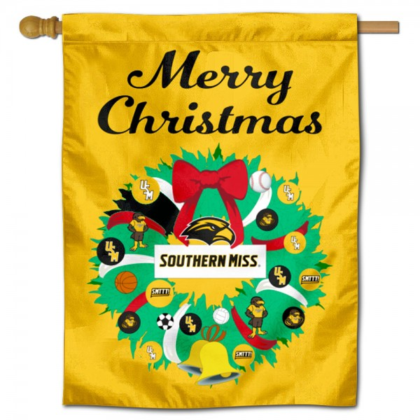 Southern Mississippi Eagles Christmas Holiday House Flag