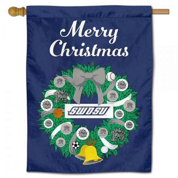 Southwestern Oklahoma State Bulldogs Christmas Holiday House Flag
