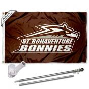 St. Bona Bonnies Flag and Bracket Mount Flagpole Set