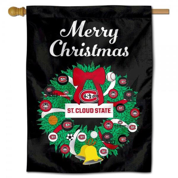 St. Cloud State Huskies Christmas Holiday House Flag