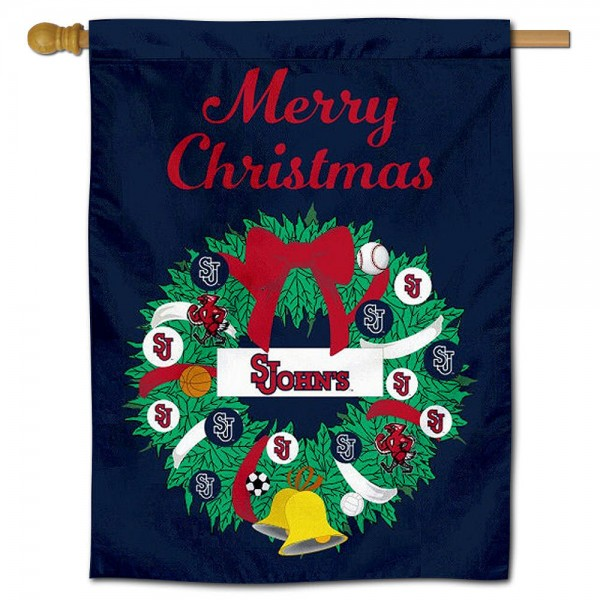St. John's Red Storm Christmas Holiday House Flag