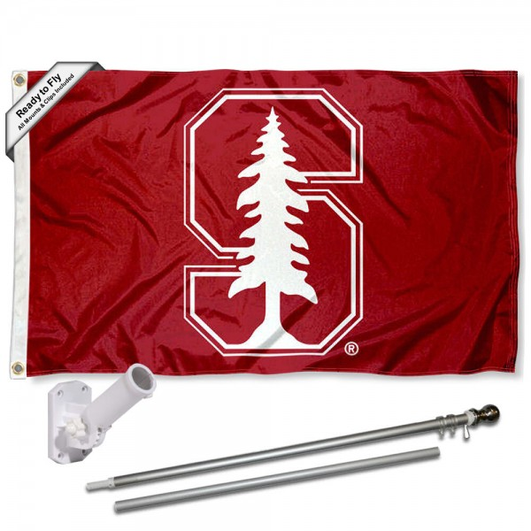 Stanford Cardinal White S Flag and Bracket Flagpole Set
