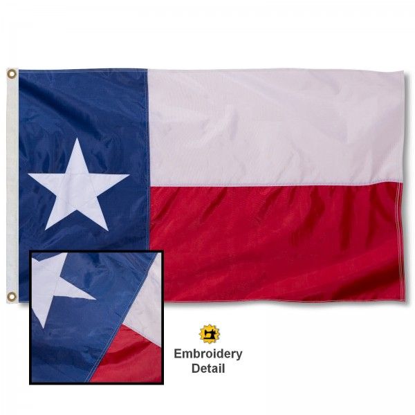 State of Texas 3x5 Foot Nylon Applique Flag
