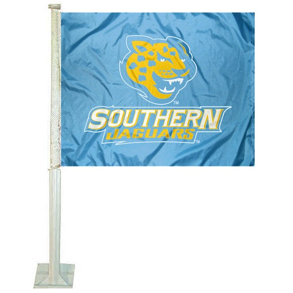 SU Jaguars Sky Blue Car Flag