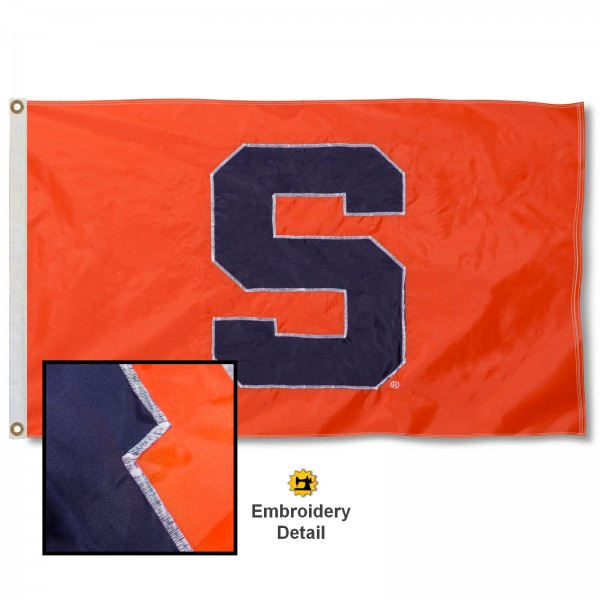 Syracuse Orange Appliqued Sewn Nylon Flag