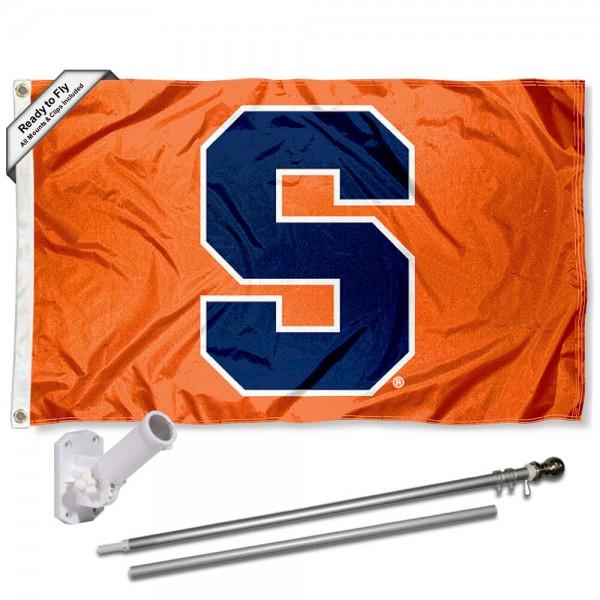 Syracuse S Logo Flag and Bracket Flagpole Set