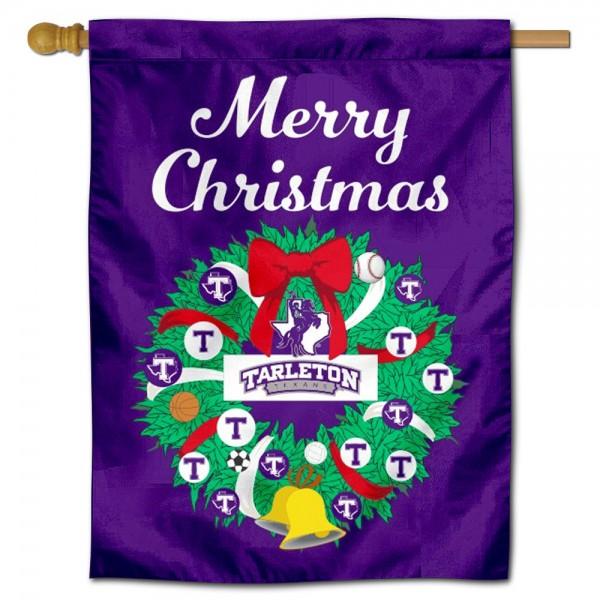 Tarleton State Texans Christmas Holiday House Flag