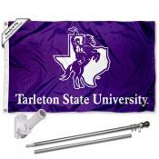 Tarleton State Texans Flag and Bracket Mount Flagpole Set