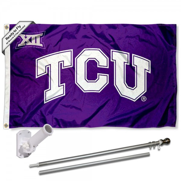 TCU Horned Frogs Big 12 Conference Flag and Bracket Flagpole Set