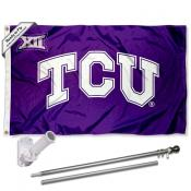 TCU Horned Frogs Big 12 Conference Flag and Bracket Flagpole Set