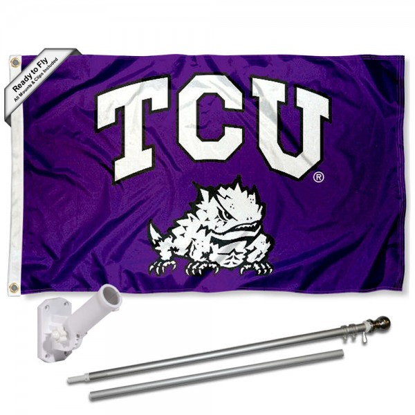 TCU Horned Frogs Flag and Bracket Flagpole Kit