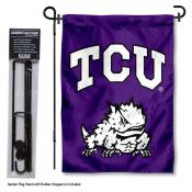 TCU Horned Frogs Garden Flag and Holder