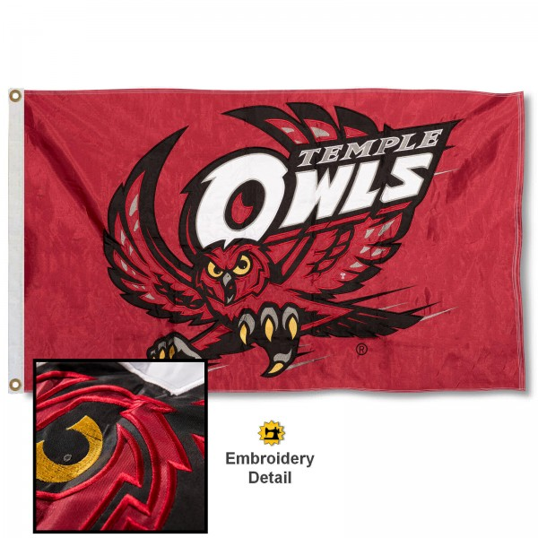 Temple Owls Appliqued Nylon Flag