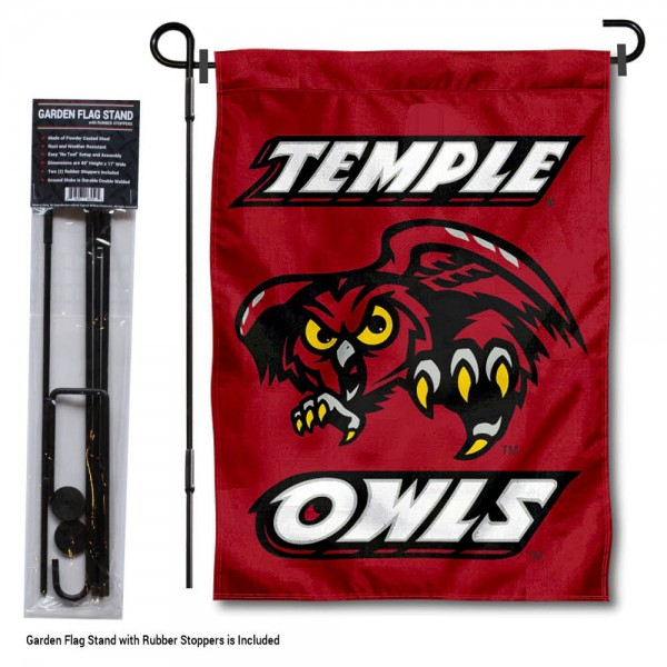 Temple Owls Garden Flag and Holder