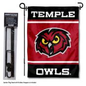 Temple University Garden Flag and Yard Pole Holder Set