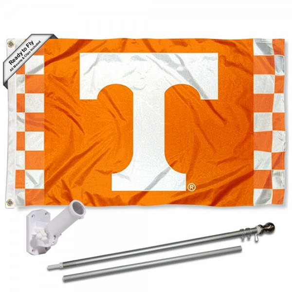 Tennessee Vols Checkered Flag and Bracket Flagpole Kit