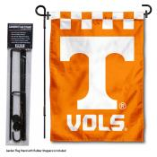 Tennessee Volunteers Checkered Garden Flag and Holder