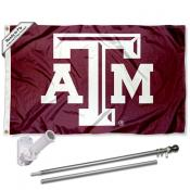 Texas A&M Beveled Logo Flag and Bracket Flagpole Kit