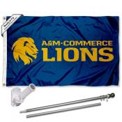 Texas A&M Commerce Lions Flag and Bracket Mount Flagpole Set