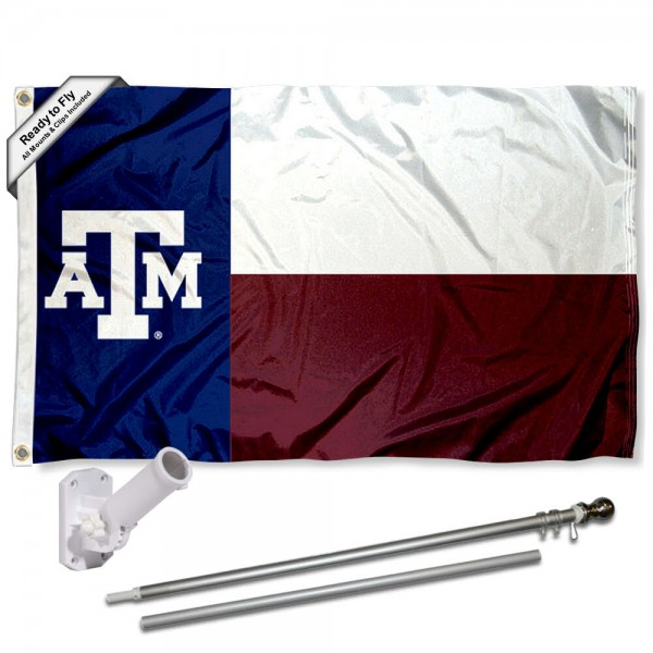 Texas A&M Flag and Bracket Flagpole Kit