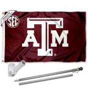 Texas A&M SEC Flag and Bracket Flagpole Kit