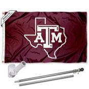 Texas A&M University Lone Star State Flag and Bracket Flagpole Set