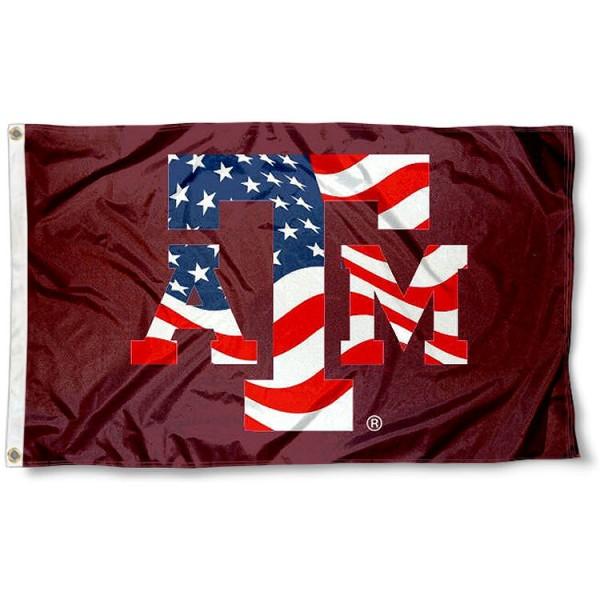Texas A&M USA Flag Waving Logo Flag