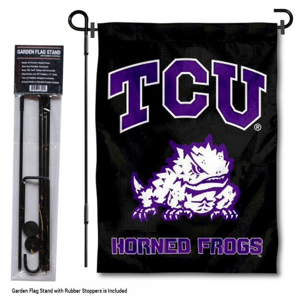 Texas Christian Horned Frogs Black Garden Flag and Holder