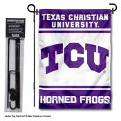 Texas Christian Horned Frogs Garden Flag and Holder