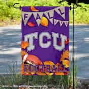 Texas Christian University Horned Frogs Fall Leaves Football Double Sided Garden Banner