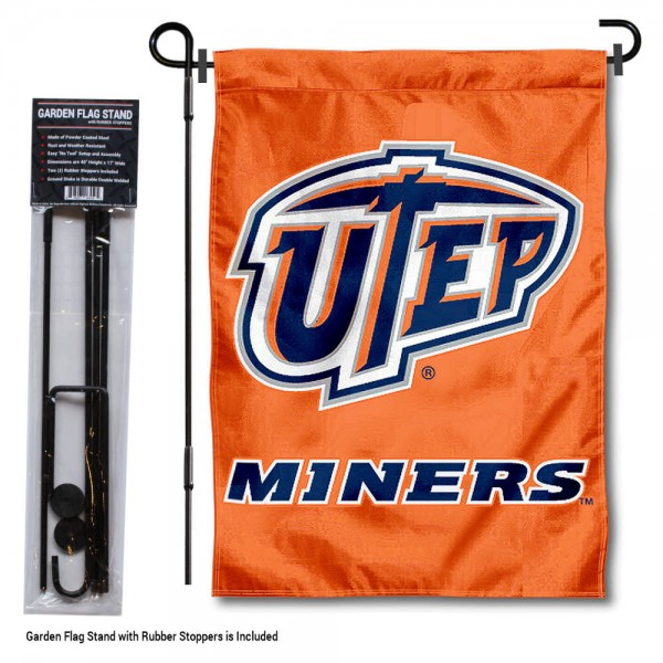 Texas El Paso Miners Garden Flag and Yard Pole Holder Set