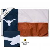 Texas Longhorns Embroidered State of Texas 2x3 Flag