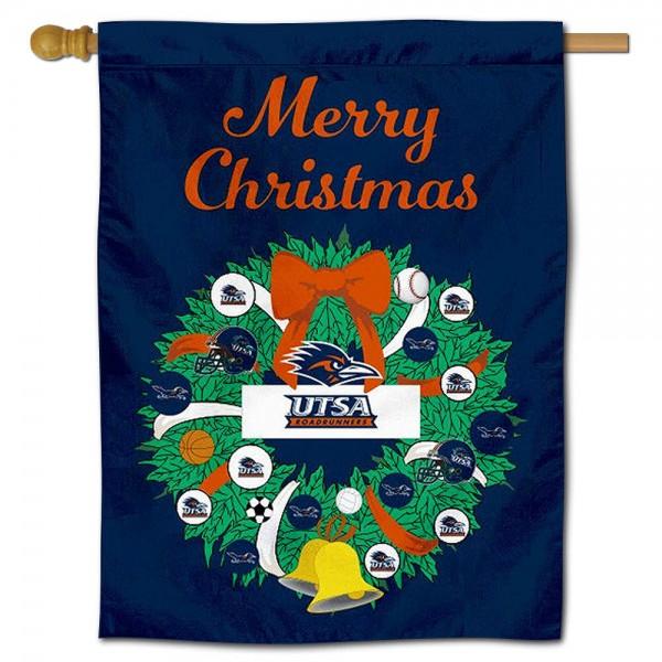 Texas San Antonio Roadrunners Christmas Holiday House Flag