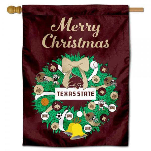 Texas State Bobcats Christmas Holiday House Flag