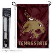 Texas State Bobcats Garden Flag and Holder