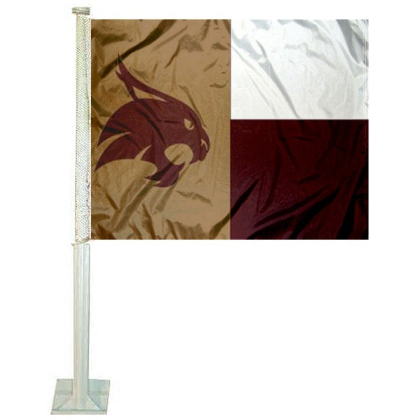 Texas State Bobcats State of Texas Car Flag