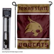Texas State University Garden Flag and Yard Pole Holder Set