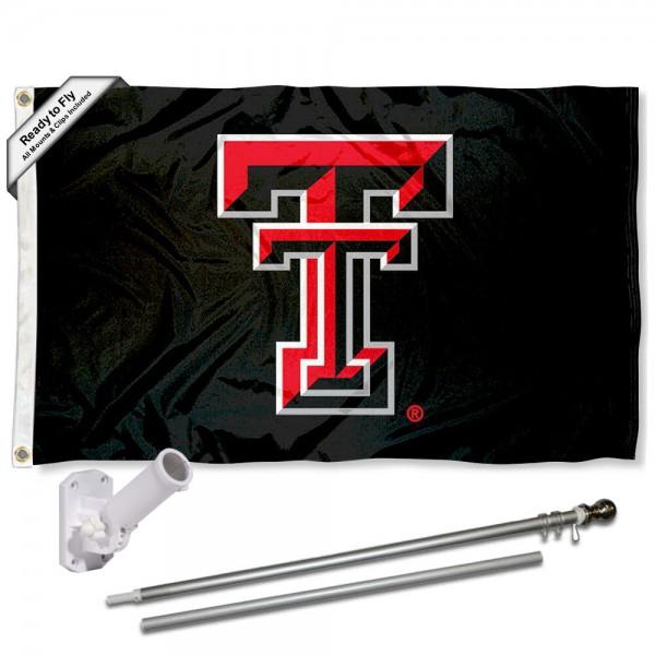 Texas Tech Black Flag and Bracket Flagpole Set