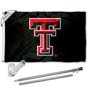 Texas Tech Black Flag and Bracket Flagpole Set