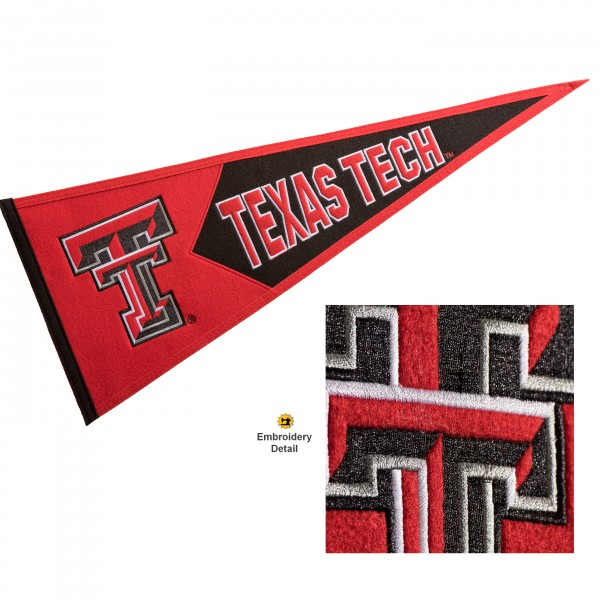 Texas Tech Embroidered Wool Pennant