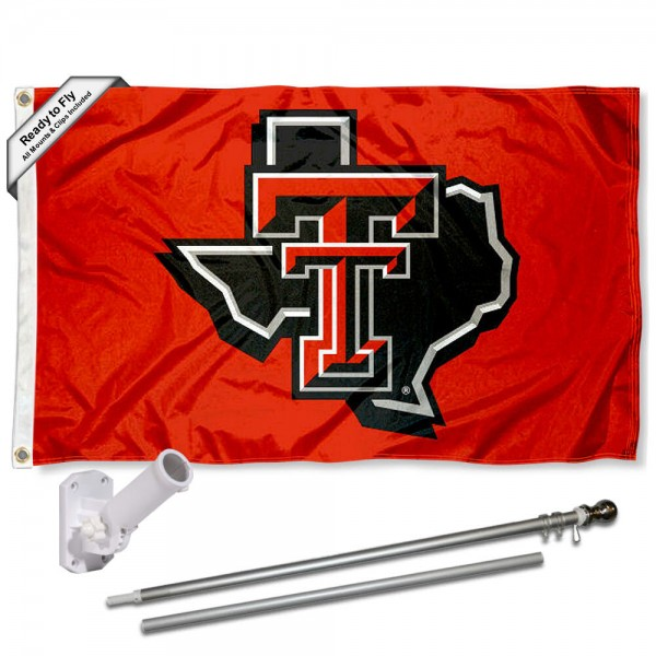Texas Tech Red Raiders State Flag and Bracket Flagpole Set