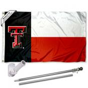 Texas Tech State of TX Flag and Bracket Flagpole Set
