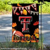 Texas Tech University Red Raiders Fall Leaves Football Double Sided Garden Banner