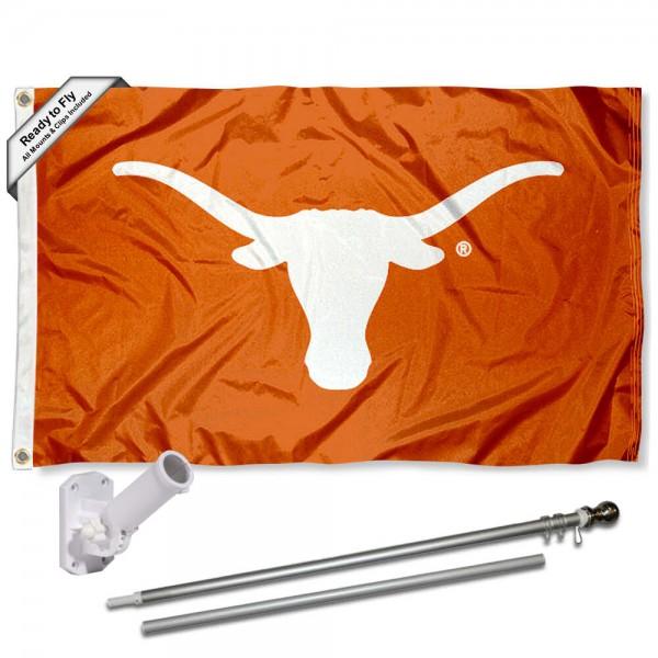 Texas UT Longhorns Bevo Flag and Bracket Flagpole Kit