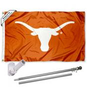 Texas UT Longhorns Bevo Flag and Bracket Flagpole Kit